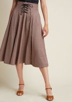 Woodland Wandering Lace-Up Midi Skirt in 12 - A-line Skirt by Alice's Pig from ModCloth