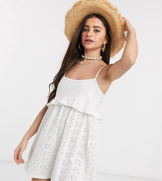 ASOS DESIGN Petite strappy broderie smock dress in white