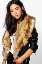 Boohoo Saskia Boutique Faux Fur Trim Biker Jacket
