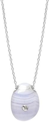 Lola Rose London Curio Diamond Pebble Necklace Blue Lace Agate
