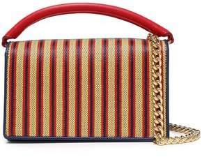 Diane von Furstenberg Bonne Soiree Striped Faux Raffia-paneled Leather Shoulder Bag