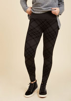 ModCloth Heed Your Warming Fleece-Lined Leggings in Black Plaid in L/XL