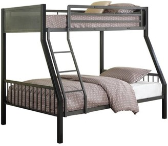 Coaster Company Coaster Meyers Collection 460391 Twin/Full Loft Bunk Bed with Built-In Ladder Slat Sides and Steel Construction in Two Tone Black and Gunmetal