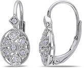 Julie Leah 1/8 CT TW Diamond Sterling Silver Earrings with Lever Backs