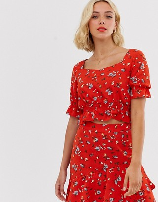 Pieces floral cropped smock top
