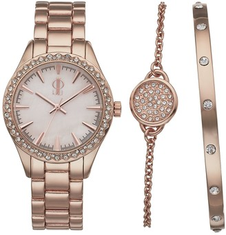 JLO by Jennifer Lopez Women's Crystal Watch & Bracelet Set