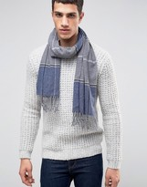 Asos Lambswool Check Scarf In Blue Check