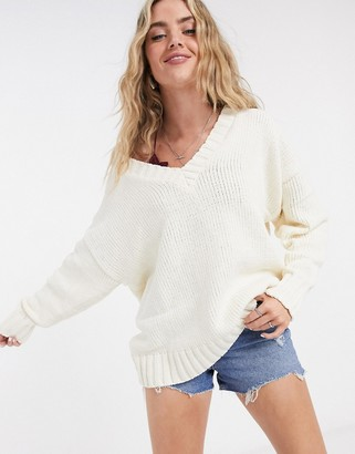 Bershka v-neck oversized jumper in ecru