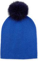 Neiman Marcus Cashmere Slouchy Hat w/Fur Pompom, Cobalt