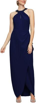 Alex Evenings Embellished Halter Evening Gown