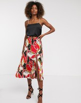 AX Paris chain print midi skirt