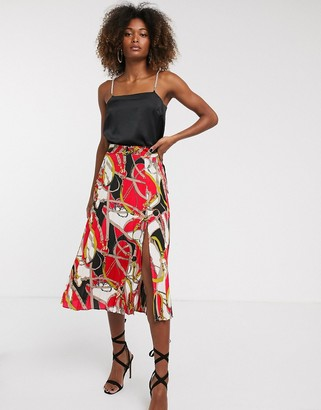 AX Paris chain print midi skirt