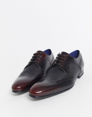 Ted Baker Ollivm formal wing cap shoes in high shine red