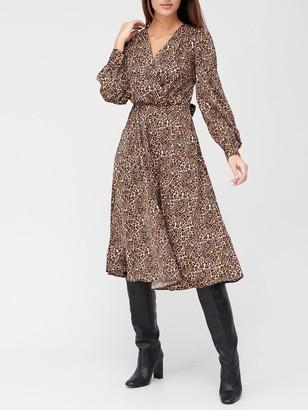 Very Wrap Satin Jacquard Tie Waist Midi Dress - Animal Print