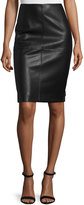 Neiman Marcus Faux-Leather Ponte Knit Skirt, Black