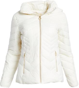 Michael Kors Women's Puffer Coats BONE - Bone Chevron Quilted Jacket - Women