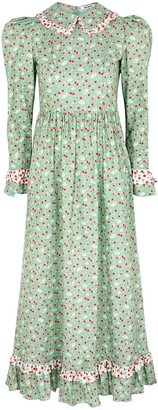 Batsheva Ruth green floral-print cotton midi dress