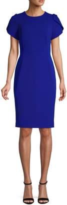 Calvin Klein Pleated-Sleeve Sheath Dress