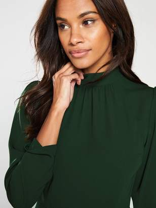 Very High Neck Midi Dress - Forest Green