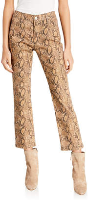 Frame Le High Straight Coated Python Jeans