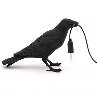 Seletti Black Waiting Outdoor Bird Lamp - resin | black - Black/Black