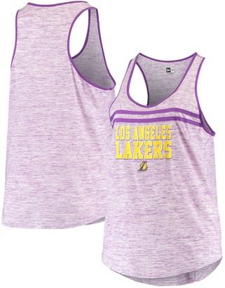 New Era Women's Purple Los Angeles Lakers Plus Size Space Dye Jersey Racerback Tank Top