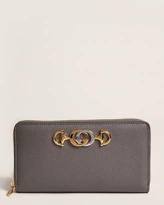 Gucci Dusty Grey Zumi Leather Zip-Around Wallet