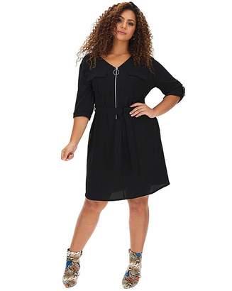 Jd Williams Black Zip Front Dress