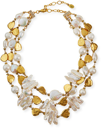 Sequin 3-Strand Pearl Necklace