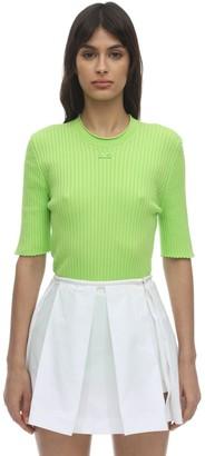 Courreges Short Sleeve Cotton Knit Top