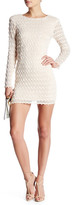 Endless Rose Fringed Lace Long Sleeve Sheath Dress
