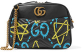 Gucci Guccighost Printed Leather Shoulder Bag - Black