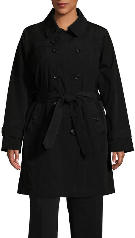 Hooded Belted Lightweight Raincoat-Plus