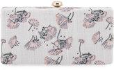 Neiman Marcus Flower-Print Linen Box Clutch Bag, Ivory