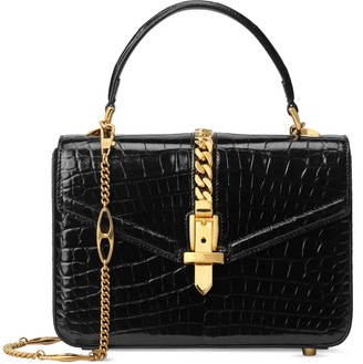 Gucci Sylvie 1969 crocodile mini top handle bag