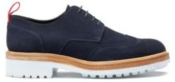 HUGO BOSS Derby Shoes In Suede With Rubber Lug Sole - Dark Blue