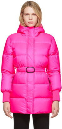 Kenzo Pink Down Long Quilted Puffer Jacket