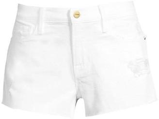 Frame Le Cut Off High-Rise Raw Tulip Hem Denim Shorts