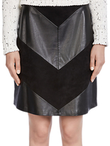 Oui Chevron Leatherette Skirt, Black