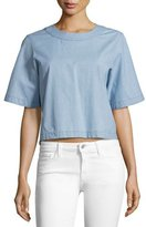 J Brand Archer Short-Sleeve Chambray Shirt, Blue