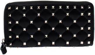 Valentino Black Quilted Leather Rockstud Spike Zip Around Wallet