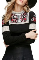 Free People Cozy On Up Embroidered Top