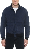 Forzieri Midnight Blue Suede Men's Bomber Jacket