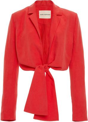 Mara Hoffman Catalina Tie-Front Linen-Blend Blazer Top