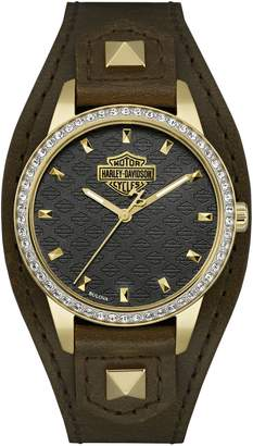 Harley-Davidson The Shaped Cuff Goldtone Stainless Steel Analog Watch