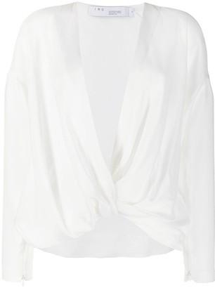 IRO wrap style plunging V-neck blouse