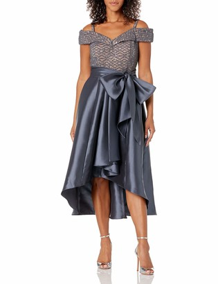 R & M Richards R&M Richards Women's one Piece Pleated Off The Should hi lo paty Dress Charcoal/n 6