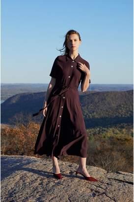 Mansur Gavriel Crepe Shirt Dress - Aubergine