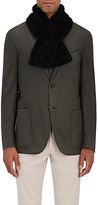 Barneys New York Men's Shearling Pull-Through Scarf-DARK BROWN