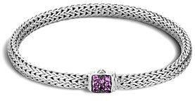 John Hardy Classic Chain Sterling Silver Lava Extra Small Bracelet with Amethyst
